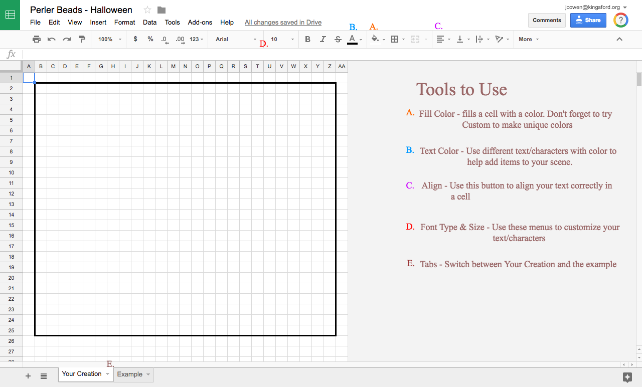 Google Sheets formatting tools.
